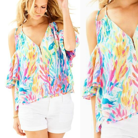 02272fa229c Lilly Pulitzer Tops - Lilly Pulitzer Bellamie Cold shoulder blouse M